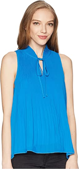 Tie Up Fronted Pleated Top