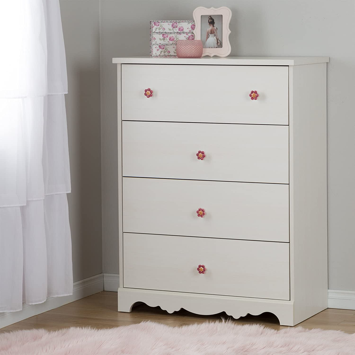 South Shore Furniture Lily pink 4-Drawer Chest, White Wash