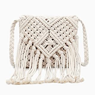 Women's Tassel Shoulder Bag, Techcircle Bohemian Beach Crochet Messenger Bag, Handcrafted Cotton Macrame Purse Stylish Fringed Pouch for Phones, Cosmetics, Gadgets, Off-White