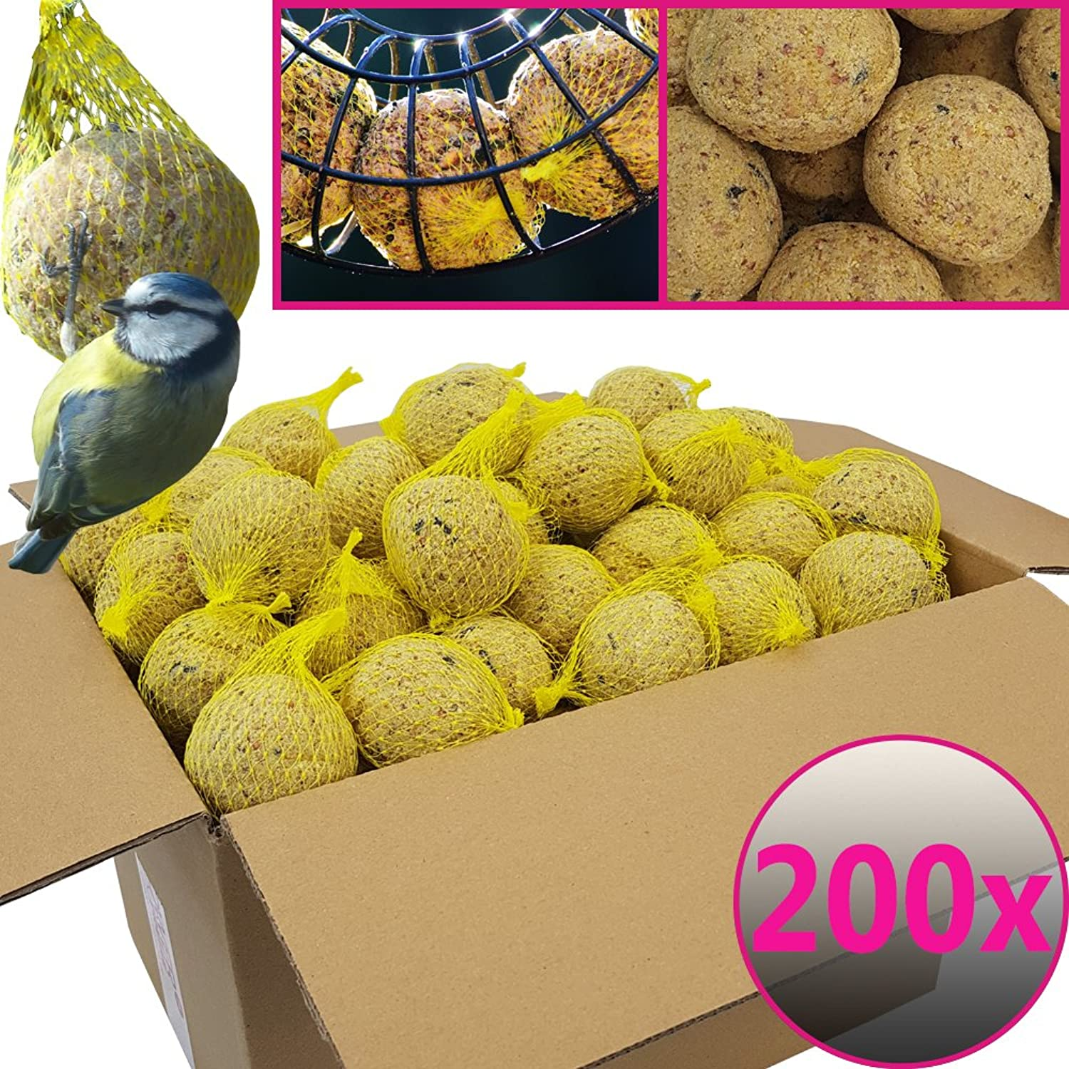 Netted Fat Balls for Wild Birds  200 balls = 18 kg  Natural food with great energy intake for wild birds  Grease balls with individual net for hanging