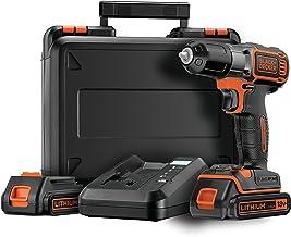 BLACK+DECKER ASD18KB-QW - Taladro atornillador 18V Autosense, incluye 2 baterías de litio 1.5Ah y maletín