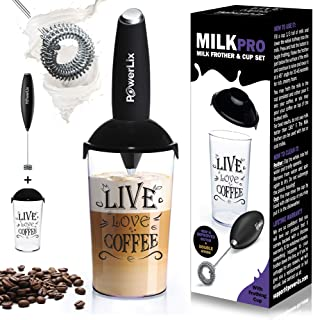 PowerLix Milk Frother Handheld Battery Operated Electric Foam Maker For Coffee, Latte, Frappe, Matcha, Drink Mixer With St...