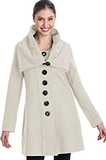 Women's Long Sleeve Jacket Female Cotton Coat with Oversized Collar and Pockets