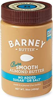 BARNEY Almond Butter, Bare Smooth, No Stir, No Sugar, No Salt, Non-GMO, Skin-Free, Paleo, KETO, 16 Ounce