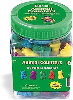 لوازم الفصول الدراسية من يوريكا تعلم كيفية عد الحيوانات مع حوض تخزين، 100 قطعة