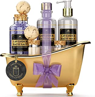Deluxe Spa Gift Basket for Women [With Smokeless Candles] Calming Lavender Scent, All-Natural Spa Kit Includes Relaxing Bath Foam, Bath Salt, Milk, Bath Bombs and Candles, Ultimate Spa Lovers
