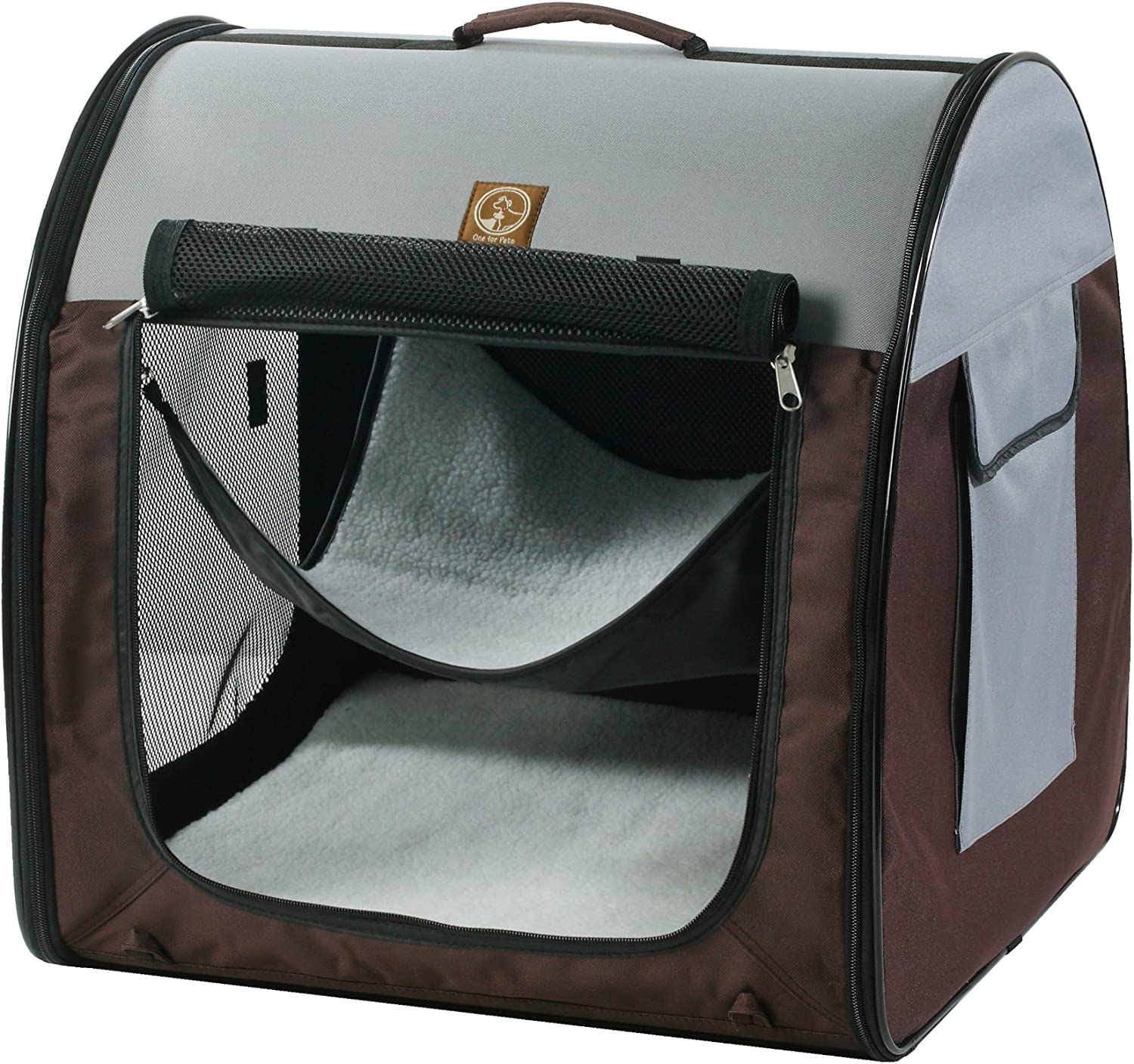 One for Pets Fabric Portable Pet Kennel, Single, Grey Brown, 20 x20 x19.5