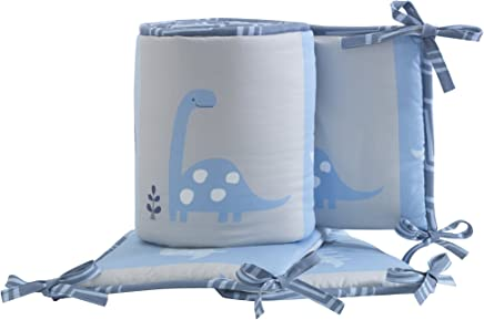 Bedtime Originals Roar Blue/Gray Dinosaur 4-Piece Baby Crib Bumper