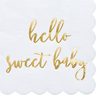 Cocktail Napkins - 50-Pack Disposable Paper Napkins with Scalloped Edges, Gold Foil Hello Sweet Baby Design, Shower, Baptism, Christening, Dedication Party Supplies, 3-Ply, White, Folded 5 x 5 Inches