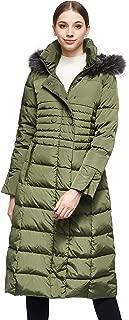 Women Warm Down Jacket with Hood Fur Raglan Sleeve Coat