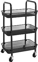 SONGMICS Wózek, wózek kuchenny z 3 poziomami, wykonany z metalu, półka kuchenna, wózek do serwowania, z 2 hamulcami, z uch...