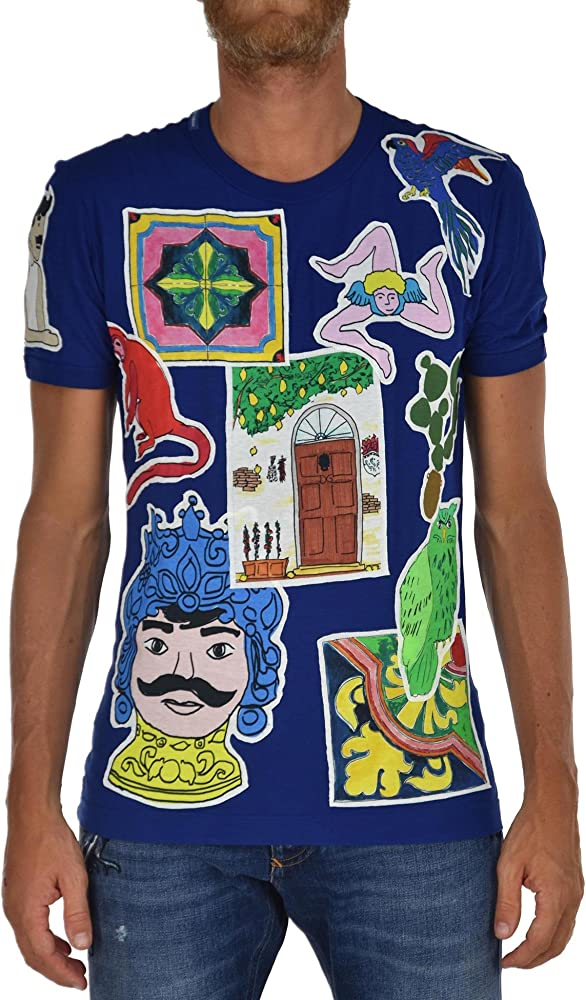 Dolce & gabbana, t-shirt per uomo, maglietta a maniche corte, 1000% cotone, taglia 44
