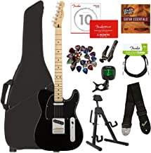 Fender Player Telecaster, Maple - Black Bundle with Gig Bag, Stand, Cable, Tuner, Strap, Strings, Picks, Capo, Fender Play Online Lessons, and Austin Bazaar Instructional DVD
