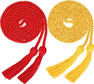 Yaomiao 2 Pieces Graduation Cords Polyester Yarn Honor Cord with Tassel for Graduation Students (Gold and Red)