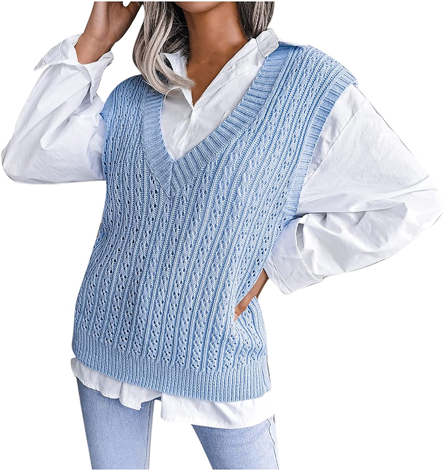 Womens Sweater Vest Sleeveless Knitted Vest V-Neck Hollow Knit Vest for Women Cable Knit Sweater Pullover Knitwear Tops