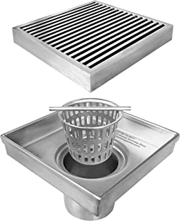 Neodrain Square Shower Drain with Removable Heel Guard Grate, 4-Inch, Brushed 304 Stainless Steel, With WATERMARK&CUPC Certified, Includes Hair Strainer