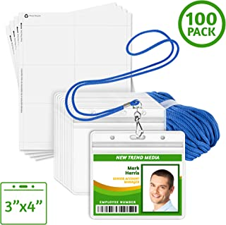 EcoEarth ID Badge Holder with Lanyard and Paper Kit (Blue, 3 x 4