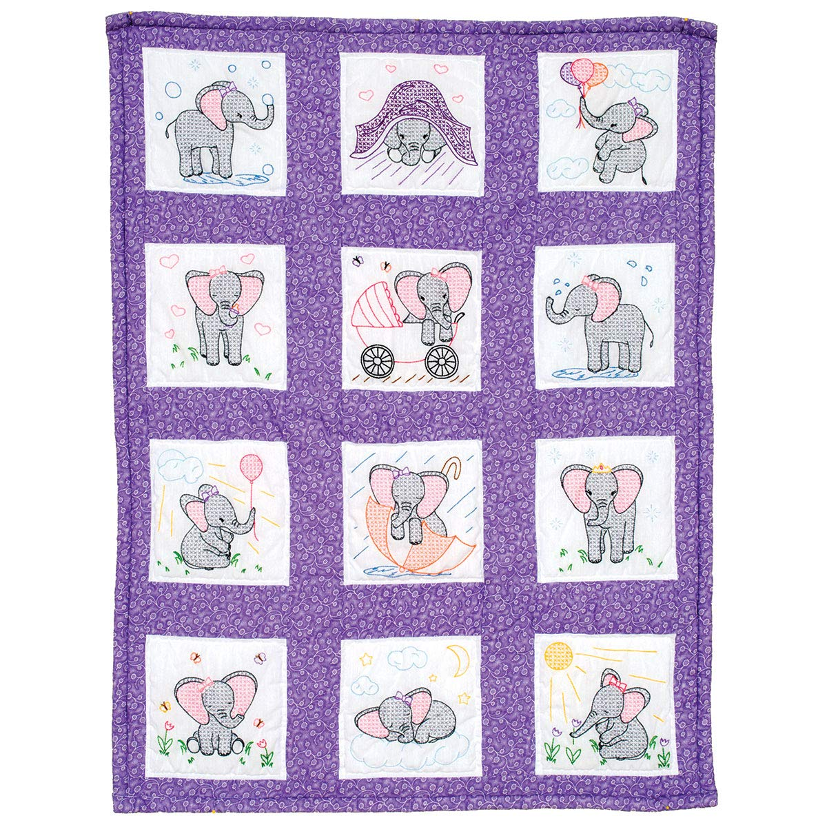 Sunbonnet Sue 9-Inch by 9-Inch Jack Dempsey Stamped White Nursery Quilt Blocks 12-Pack