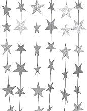 CVHOMEDECO. Golden Twinkle Glittered Paper Star String Star Garland Unique Hanging Bunting Banner for Wedding Birthday Par...