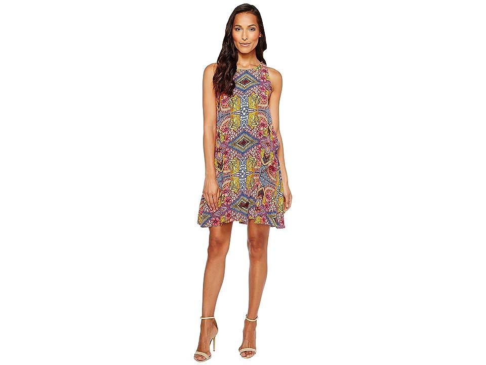 Taylor Floral Print Crepe Trapeze Dress (Purple Multi) Women