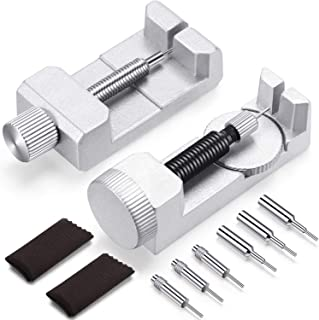 2 Pieces Watch Link Remover Kit Watch Band Removal Tool Watch Strap Pin Remover Repair Tool with Pack of 6 Extra Pins and 2 Packs Cleaning Cloth