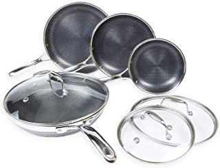 HexClad Hybrid Non-Stick Cookware | 7 Piece Set with Lids and Wok | Metal Utensil Safe, Induction Ready & PFOA-Free | Non-...