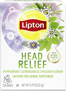 Lipton Tea Bags For A Hot or Iced Beverage with Peppermint, Lemongrass and Passion Flower Head Relief Caffeine Free Herbal...