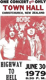 "Per Diem Printing AC/DC – Highway to Hell – Christ Church New Zealand - 13""x22"" Vintage Style Showprint Poster - Home Nostalgia Decor – Wall Art Print - Concert Bill"