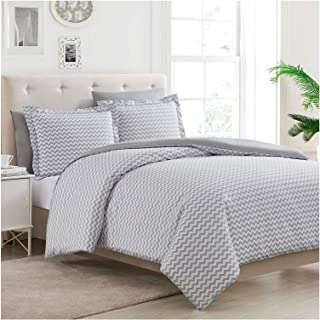 Mellanni Duvet Cover Set 5pcs - Soft Double Brushed Microfiber Bedding with 2 Shams and 2 Pillowcases - Button Closure and Corner Ties - Wrinkle, Fade, Stain Resistant (Full/Queen, Chevron Gray)