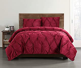 Pem America Bedding Truly Soft Pleated Velvet King 3 Piece Comforter Set in Red