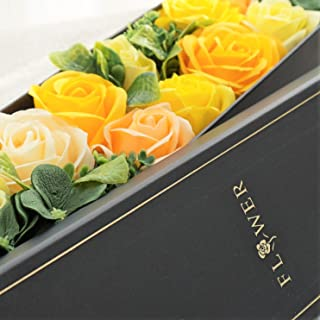 BIO ローズBOXスリム Lサイズ フレグランスソープフラワー ふた付きボックス お祝い 記念日 お見舞い バレンタインデー ホワイトデー 母の日 (イエロー)