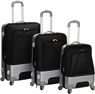 Rockland Rome Hybrid Spinner Wheel Luggage Set, Black, 3-Piece (20/24/28)