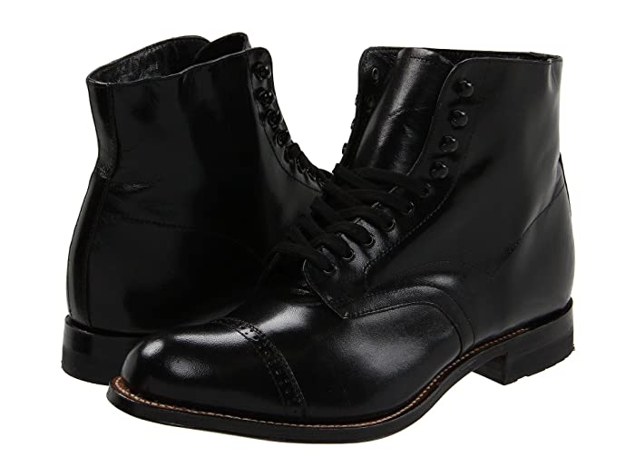 1920s Boardwalk Empire Shoes Stacy Adams Madison Boot Black Mens Shoes $135.00 AT vintagedancer.com