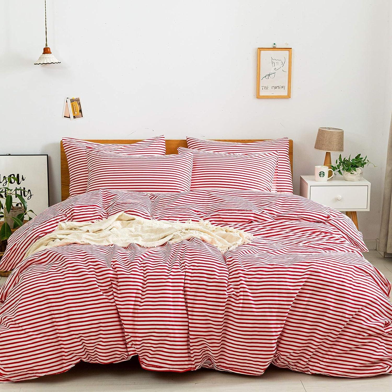 JELLYMONI 100% excellence Wholesale Natural Cotton 2pcs Duvet Cover Sets Whit Striped