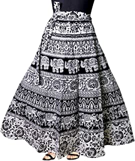 Marwar Skirt Womens Mandala Hand Block Rajasthani Full Long Printed Cotton Wrap Around Multicolor Free Size in and prints in Black and white colour