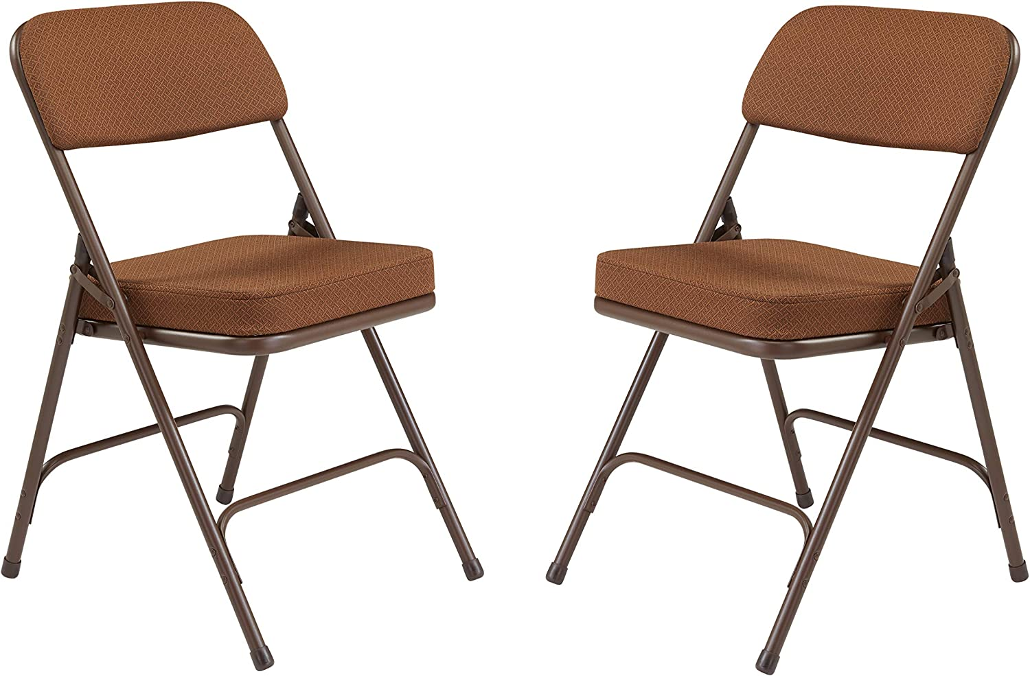 National Public Seating 3200 Series Steel Frame Upholstered Premium Fabric Seat and Back Folding Chair with Double Brace, 300-Pound Capacity, Antique gold Brown, Carton of 2