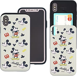 iPhone Xs Case/iPhone X Case Cute Slim Slider Cover : Card Slot Dual Layer Holder Bumper for [ iPhone Xs/iPhone X (5.8inch) ] - Vintage Mickey Mouse