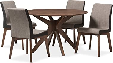 Baxton Studio Kimberly 5 Piece Dining Set, Table: Walnut Brown; Chairs: Gravel Multi Color/Walnut Brown