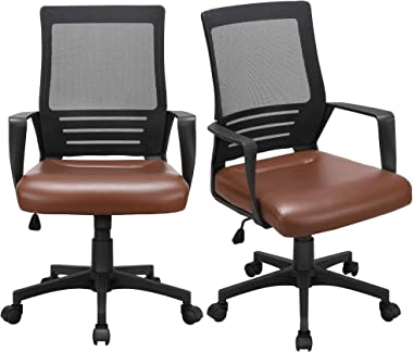 YAHEETECH 2Pcs Mesh Office Desk Chairs with Leather Seat, Ergonomic Task Chair with Rolling Casters/Lumbar Support Brown for