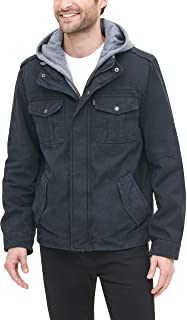 Men's Big & Tall Washed Cotton Hooded Military Jacket...
