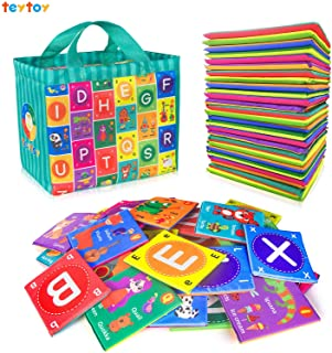 DBHstore Baby Alphabet Cloth Book Toys, Baby Early Learning Shape Colour Recognition Puzzle Toy with Storage Bag, Washable...