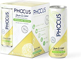 Phocus Naturally Energizing Caffeinated Sparkling Water, Yuzu & Lime, 11.5 Ounce Cans, 4 Pack