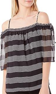 A. Byer Junior's Shirred Off The Shoulder Stripe Top