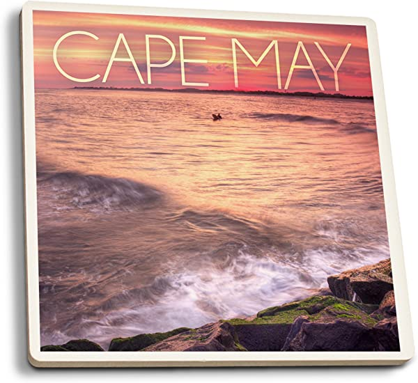 Lantern Press Cape May New Jersey Sunset Beach And Rocks Set Of 4 Ceramic Coasters Cork Backed Absorbent