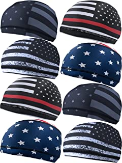 Geyoga 8 Pieces Cooling Skull Cap Sweat Wicking Liner Running Beanie Cycling Cap