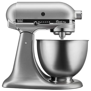 KitchenAid KSM75SL Classic Plus 4.5-Qt. Tilt-Head Stand Mixer, Silver