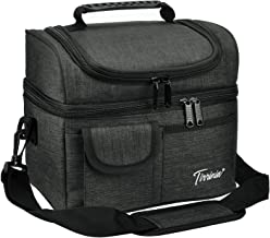 Tirrinia Insulated Lunch Bag, Leakproof Thermal Bento Cooler Tote for Women and Men, Dual Compartment with Shoulder Strap, 10.2