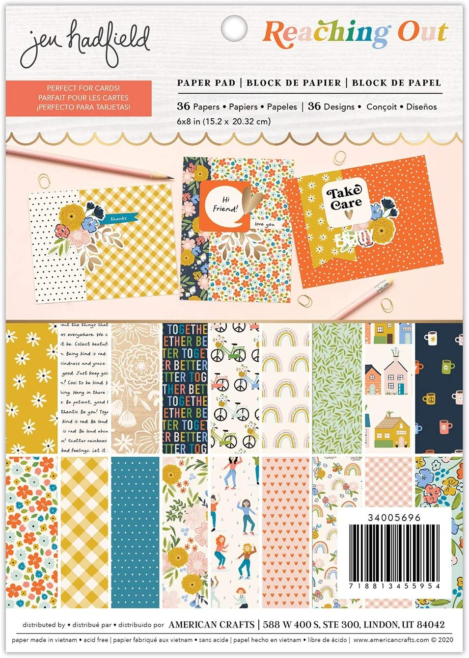 American Crafts Paper 6X8 Large discharge sale Cheap PAD Jen Hadfield Out Reaching
