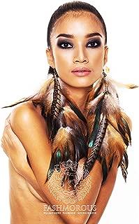 Feather Earrings White Brown Long Feather Earrings for Women