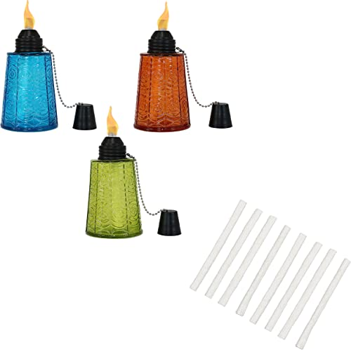 Sunnydaze Set of 3 Glass Outdoor Tabletop Torch Set with Fiberglass Wicks (1 Blue, 1 Orange and 1 Green) and Replacement Fiberglass Wicks for Outdoor Torches and Lamps (Set of 8) Bundle